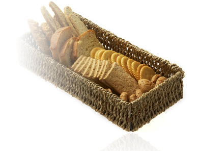 basket of crackers and bread